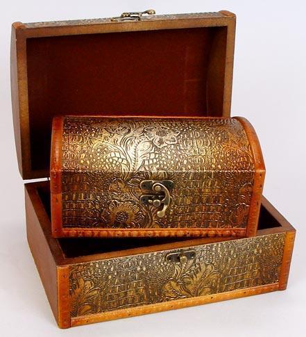 Набор деревянных шкатулок Bona Сундучок Золотая Кожа 2шт (psg_BD-405-199)