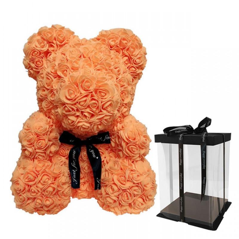 Мягкая игрушка iTrendy Мишка из роз 40 см Персиковый (HLCTB18)