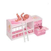 Деревянная кровать для куклы Kronos Toys 54323 двухэтажная с постелью Розовая (int_54323)