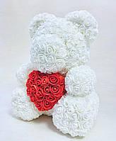 Мишка из 3D роз 40 см Белый с красным (5720661)