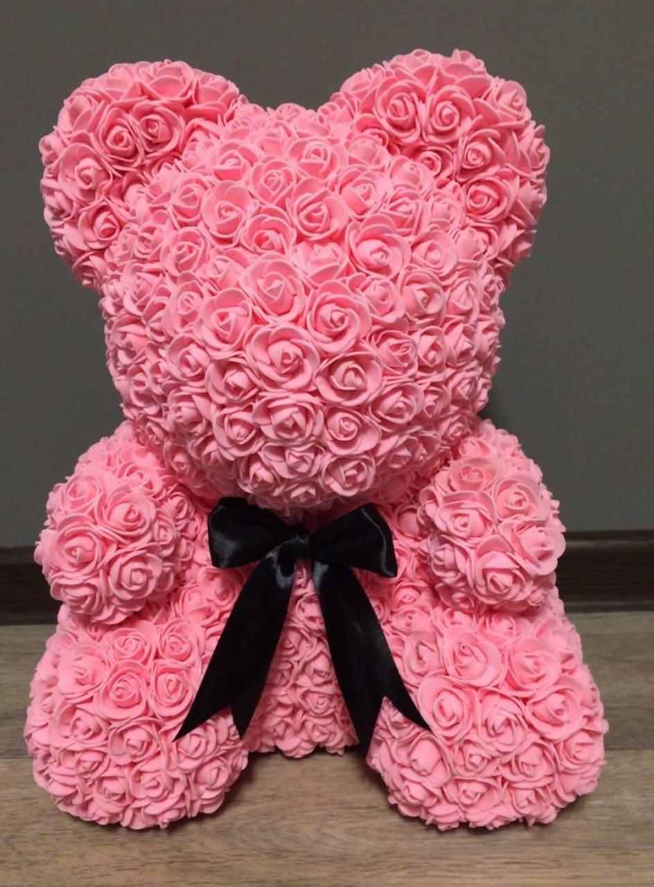 Мишка из 3D роз 40 см Розовый (3025405)
