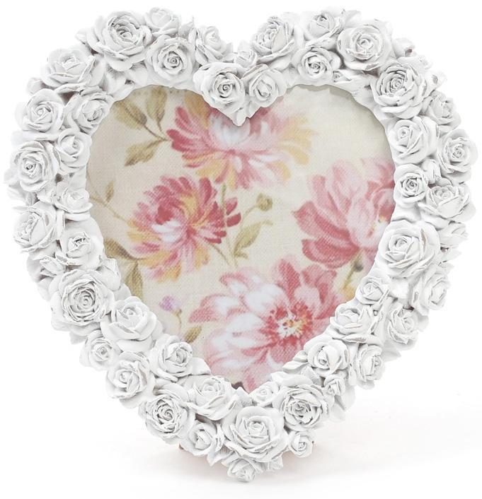 Фоторамка Sweet White Белые розы в форме сердца 14х15 см (psg_BD-493-588)