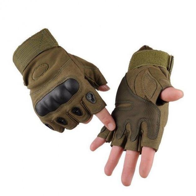 Перчатки тактические с открытыми пальцами Oakley XL Хаки (M_O_070419_23)