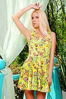 Платье Мэлони б/р желтое с цветами короткое из креп-шелка с облегающим верхом и расклешенной юбкой