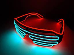 Светящиеся светодиодые очки El Neon ray Красный с голубым (hub_MLqW54695)