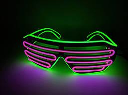 Светящиеся светодиодные неоновые очки El Neon ray Зеленый с фиолетовым (hub_kILQ55808)
