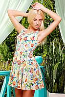 Платье Мэлони б/р молочное в цветы мини приталенного покроя с расклешенной юбкой из набивного креп-шелка
