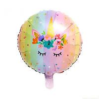 Воздушный фольгированный шар Единорог цветочный, 45 см