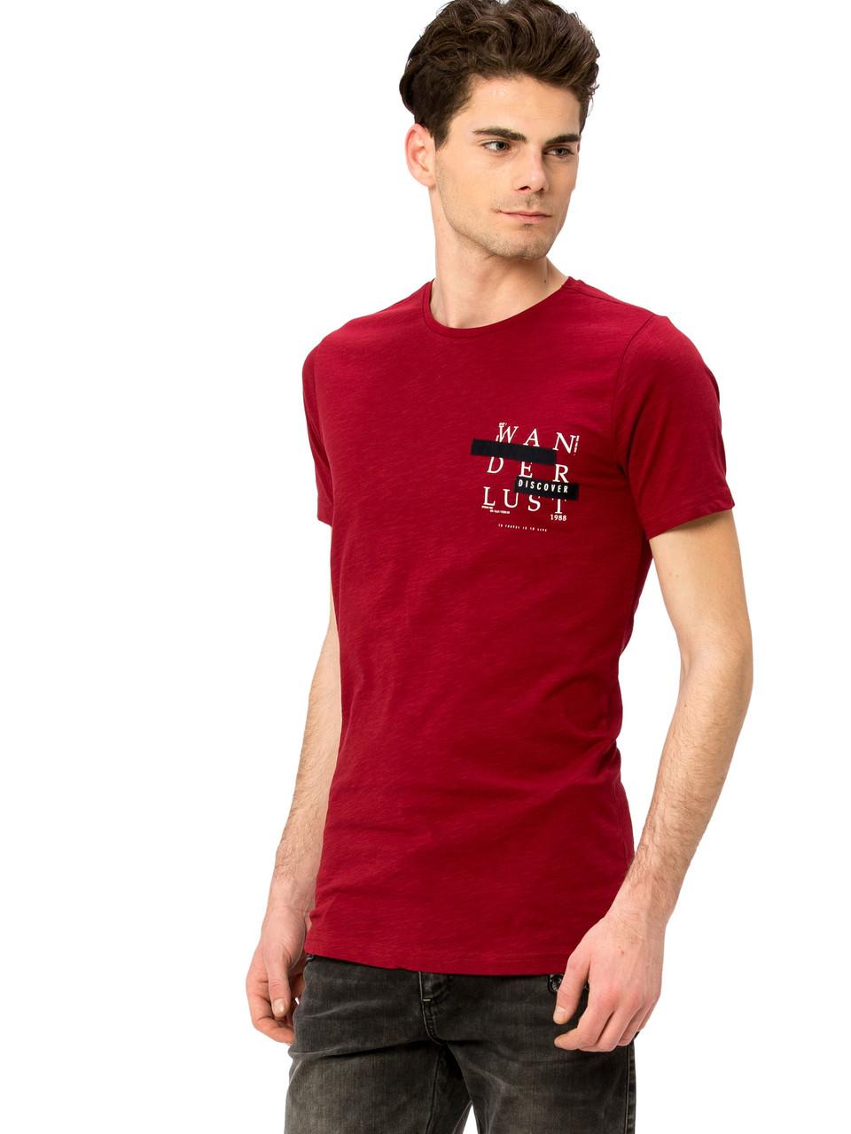 Бордовая мужская футболка LC Waikiki / ЛС Вайкики с надписью Wanderlust