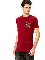 Бордовая мужская футболка LC Waikiki / ЛС Вайкики с надписью Wanderlust, фото 1