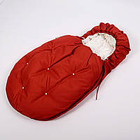 Конверт - кокон зимний BabySoon 45смх85см Умка Красный с бусинами и с молочным плюшем + сапожки