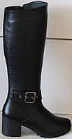 Женские зимние кожаные сапоги на каблуке от производителя модель НИК211, фото 1