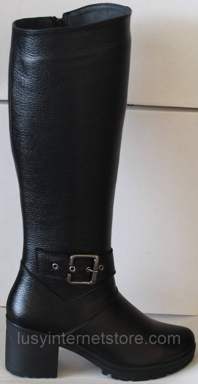 Женские зимние кожаные сапоги на каблуке от производителя модель НИК211