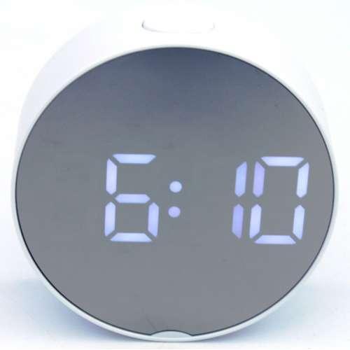 Зеркальные электронные LED часы настольные с белой подсветкой и термометром UKC DT-6505 белый