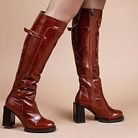Женские высокие сапоги кожаные на каблуке. Индивидуальный пошив. Цвет на выбор