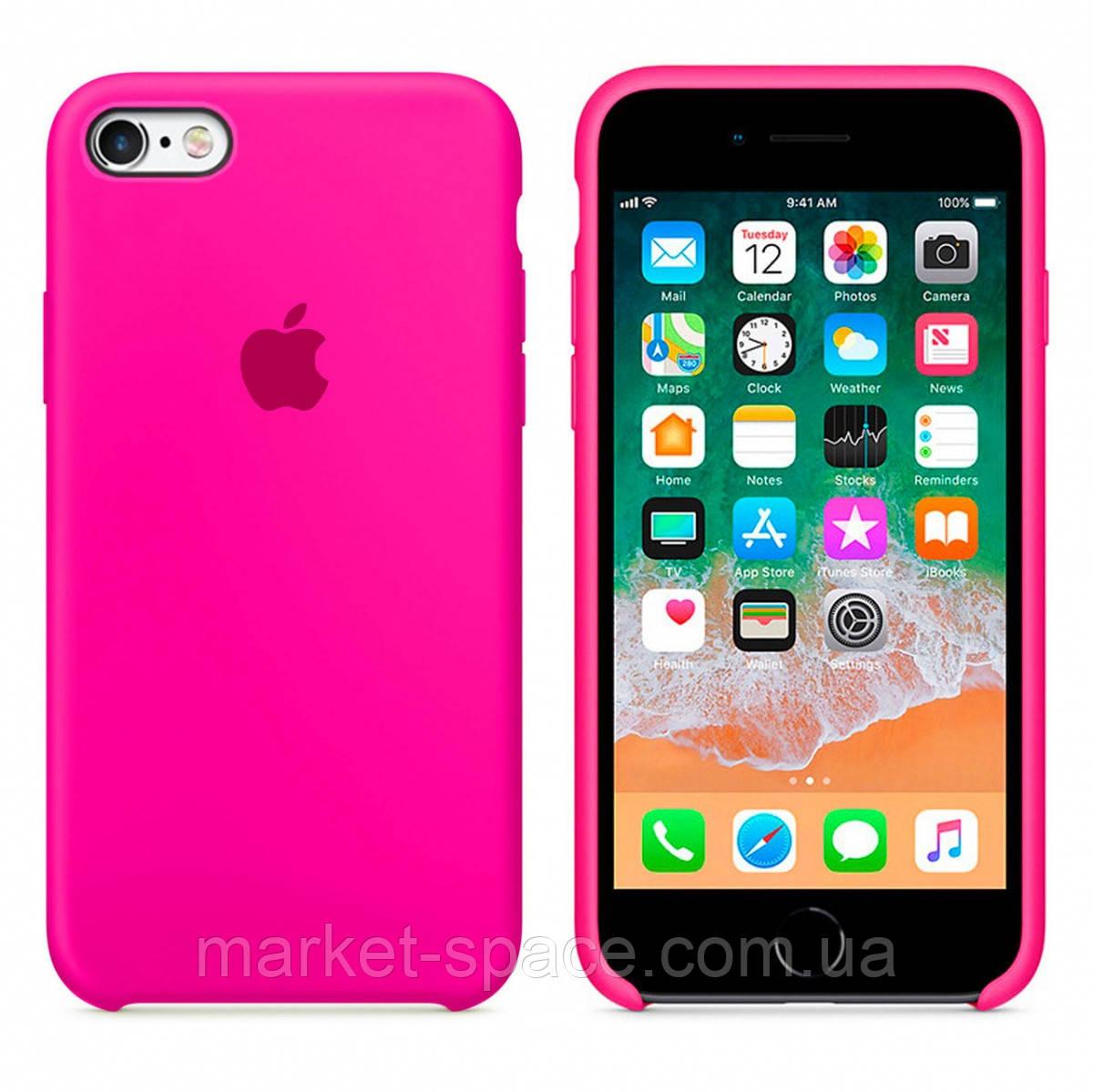 """Чехол силиконовый для iPhone 6 Plus/6S Plus. Apple Silicone Case, цвет """"Неоново-розовый"""""""