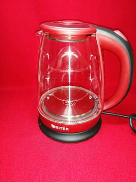 Скляний електрочайник BiTEK BT-3110 (Red)