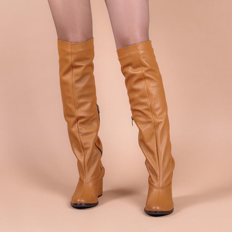 Женские рыжие сапоги кожаные на каблуке. Индивидуальный пошив. Натуральная кожа.