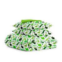 Комплект полуторного постельного белья DINO /зеленый горох/ (хлопок, бязь), фото 1