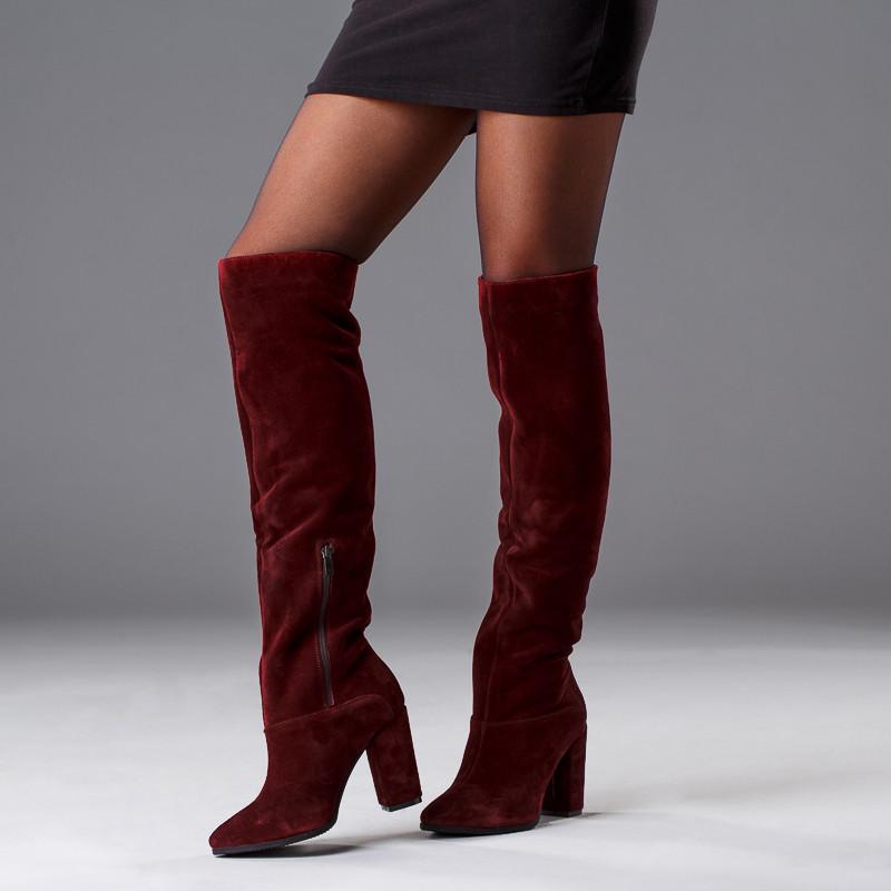 Женские бордовые высокие сапоги на каблуке. Пошив на любую голень. Цвет кожи/замши на выбор.