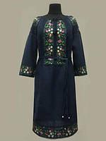 Льняное вышитое платье Ятрань темно- синего цвета р  54,56,58,60