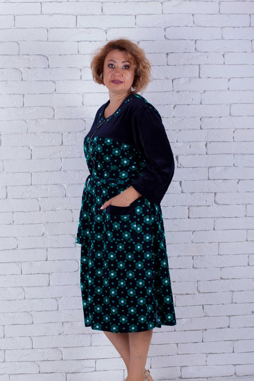 Велюровый халат женский с вышивкой цветочки большие размеры