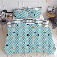 Комплект полуторного постельного белья BEAR WOOD /зигзаг сине-голубой/ (хлопок, бязь)