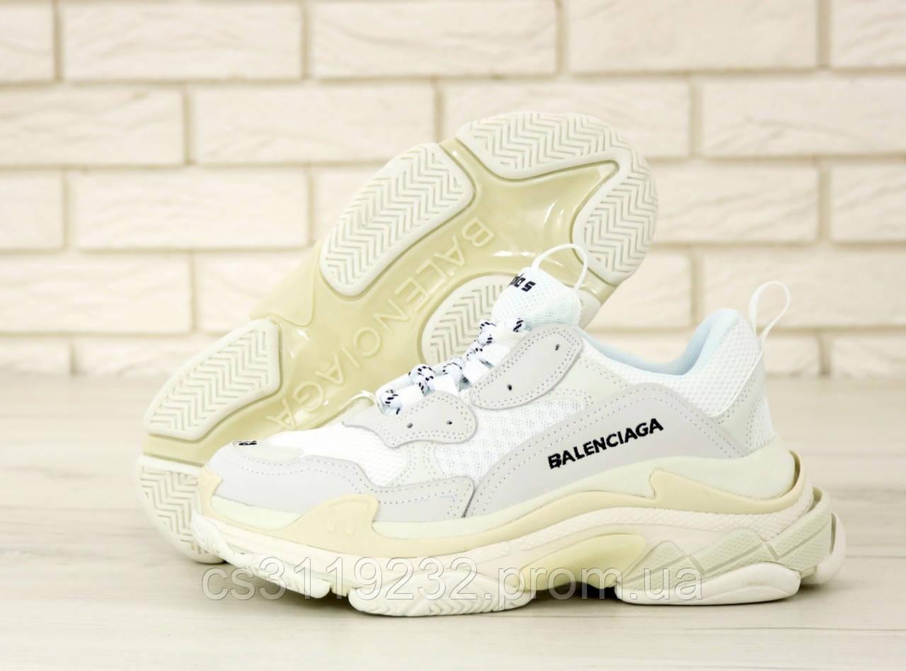 Женские кроссовки Balenciaga Triple-S White/Gray (бело-серые)