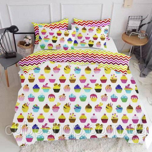 Комплект полуторного постельного белья CAKES /зигзаг цветной/ (хлопок, бязь)