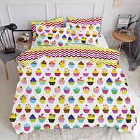Комплект полуторного постельного белья CAKES /зигзаг цветной/ (хлопок, бязь), фото 1