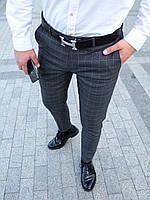 Мужские брюки классические темно-серые в клетку