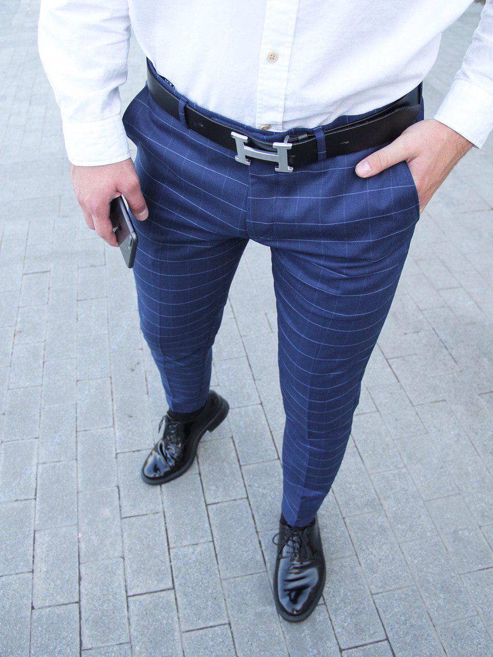 Мужские брюки классические синие в клетку