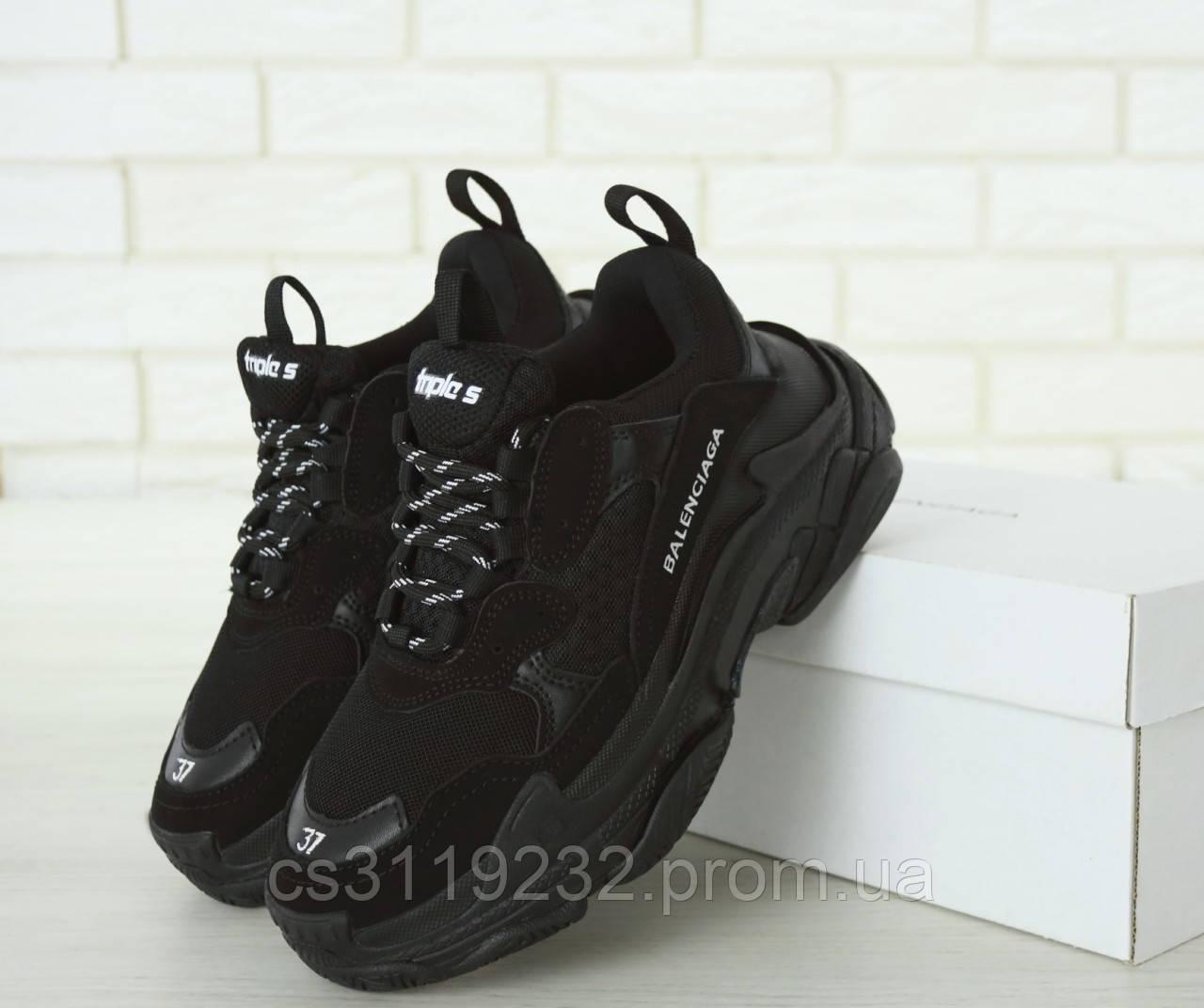 Женские кроссовки Balenciaga Triple-S (черные)