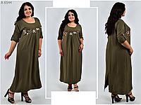 Длинное платье льняное с вышивкой, с 48 по 62 размер, фото 1