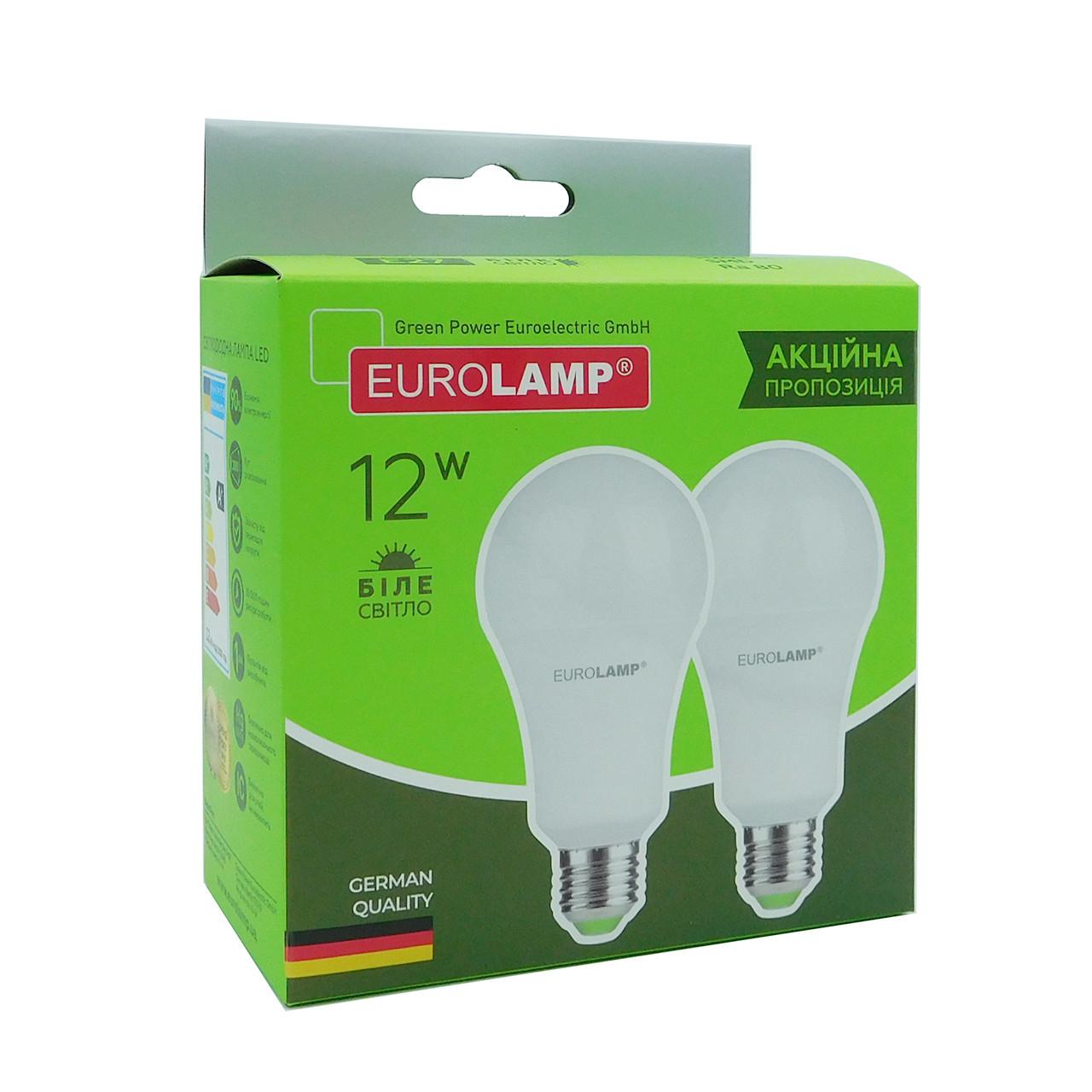 "Мультипак ""1+1"" LED Лампа Eurolamp A60 12W E27 4000K, фото 1"