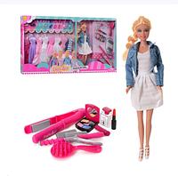 Кукла с нарядами DEFA 8426-BF (29 см, платья, обувь, косметика, плойка)