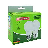 "Мультипак ""1+1"" LED Лампа Eurolamp A60 7W E27 4000K, фото 1"