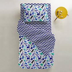 Комплект підліткового постільної білизни DINO /синій зигзаг/