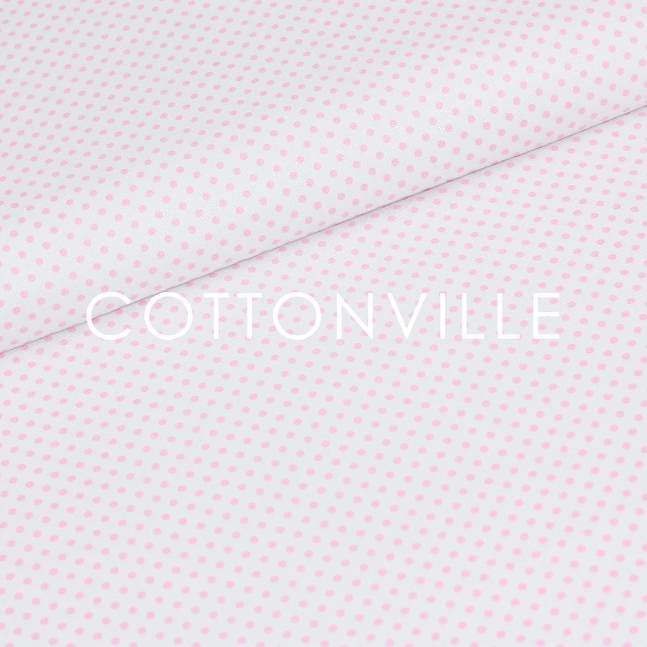 ✁ Отрезы бязи Горошки 3 мм розовые на белом