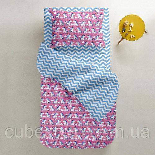 Комплект полуторного постельного белья UNICORN ROSE /зигзаг голубой/ (хлопок, бязь)