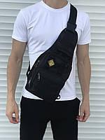 Черная надежная сумка через плечо