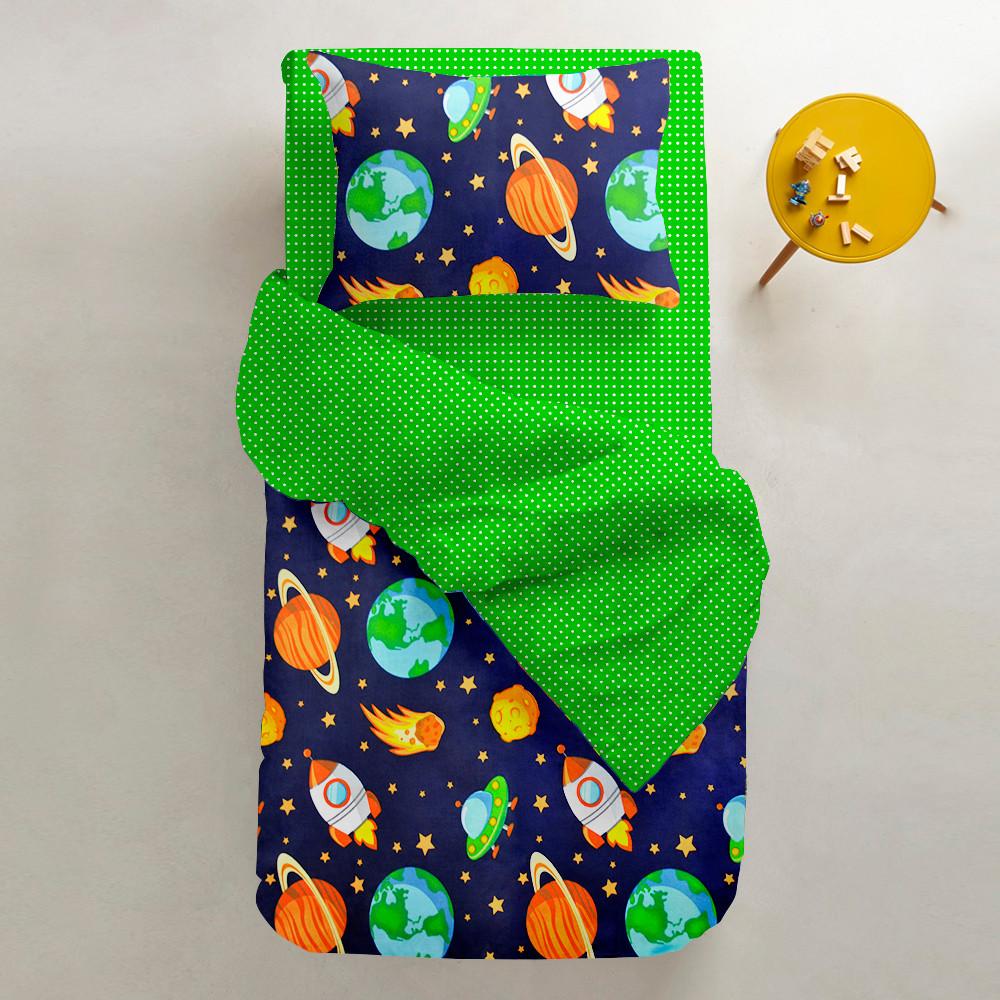 Комплект подросткового постельного белья SPACE /зеленый в горошек/