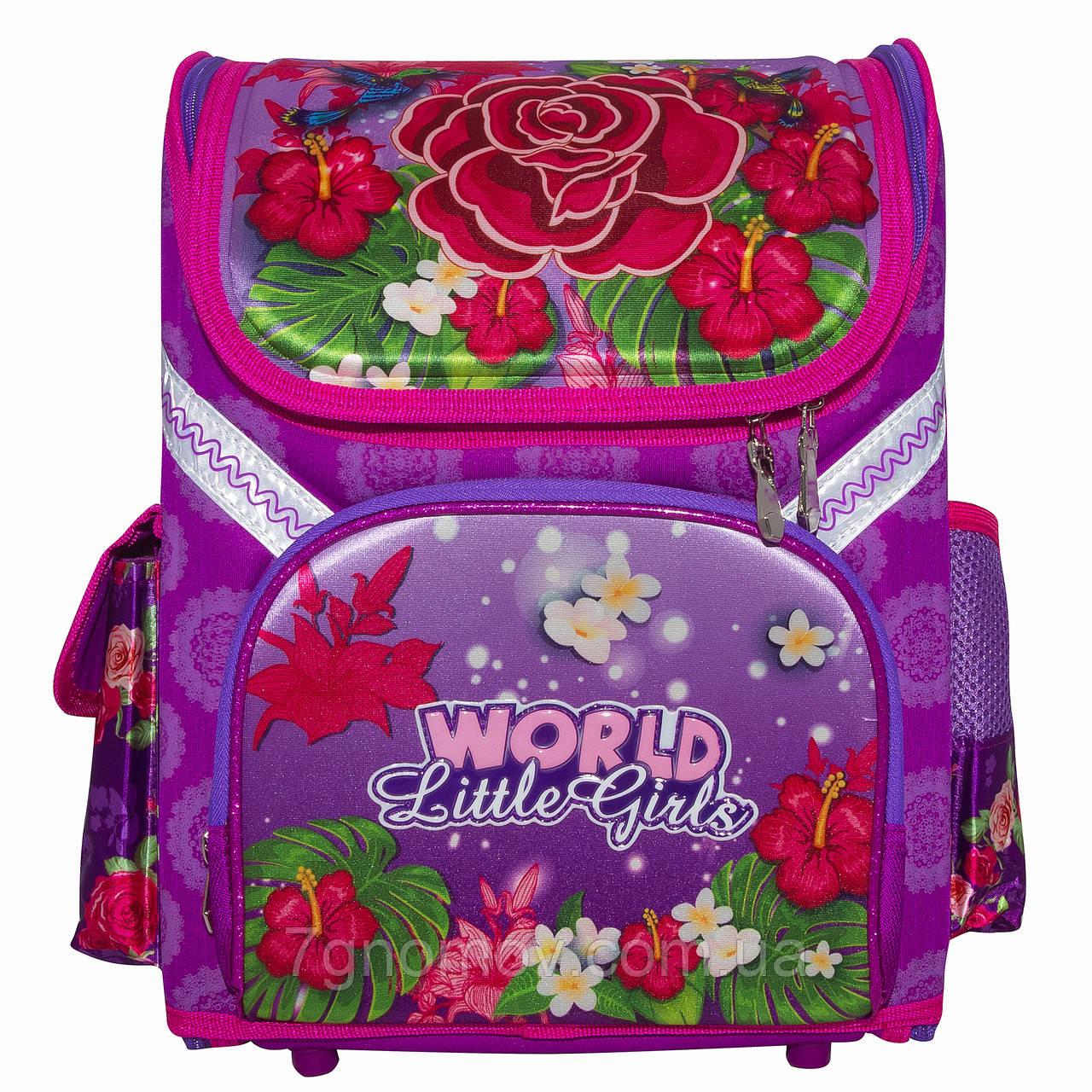 Ранец школьный ортопедический каркасный на 6-8 лет фиолетовый для девочек VGR Цветы