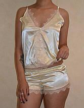 """Атласный женский комплект-пижама """"Milashka Mimi"""" с кружевом (3 цвета), фото 3"""