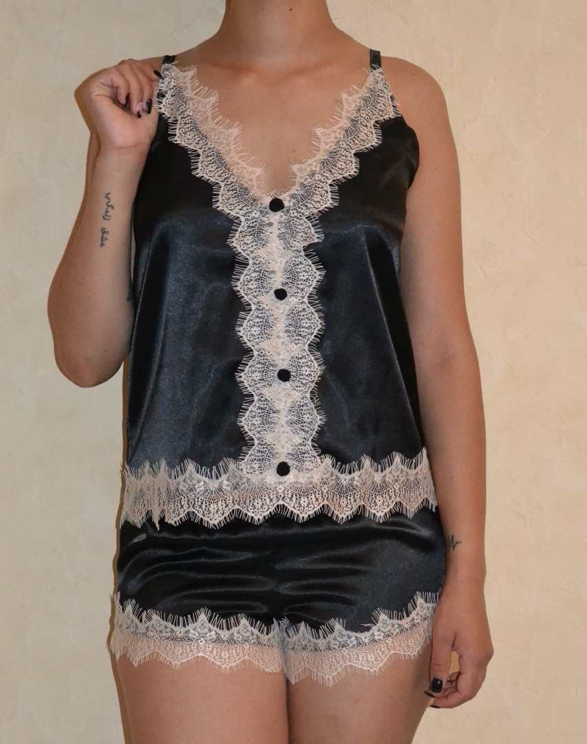 """Атласный женский комплект-пижама """"Milashka Mimi"""" с кружевом (3 цвета)"""
