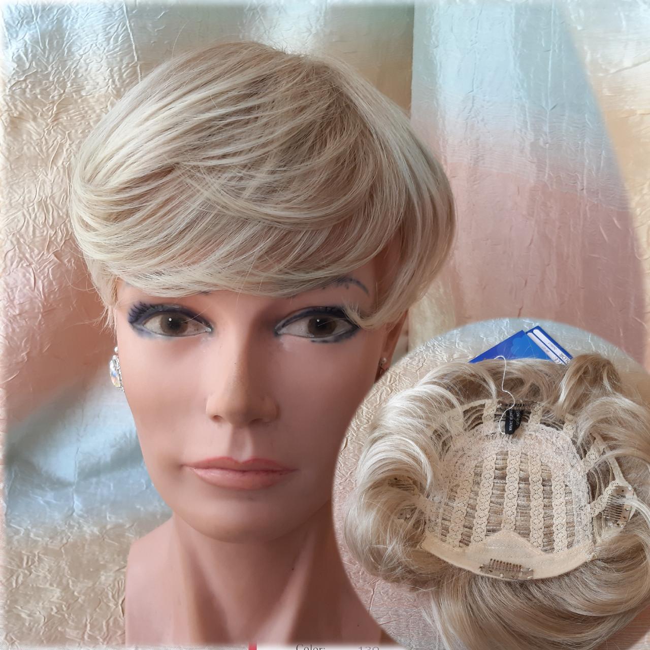 Полупарик, накладка на макушку на зажимах платиновый блонд 05-07 - 15ВТ613