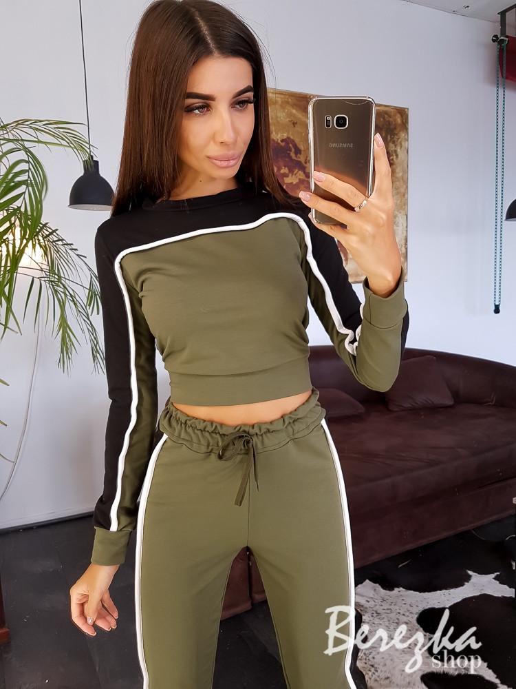 Женский спортивный костюм с джоггерами и топом с отделкой 6605676E