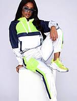 Женский плащевый спортивный костюм с неоновыми вставками 7105679