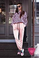 Женский костюм спортивного стиля с леопардовой велюровой кофтой 7105682, фото 1