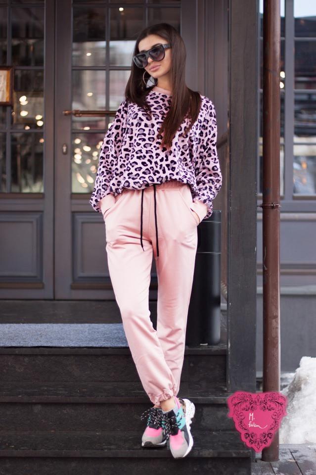 Женский костюм спортивного стиля с леопардовой велюровой кофтой 7105682